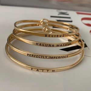 Messages Thin Metal Hook Bracelet